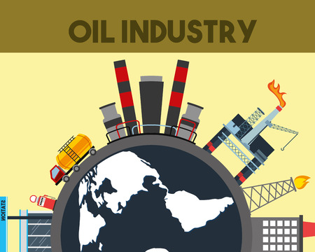 oil industry world truck tanker ship refinery chimney station vector illustration