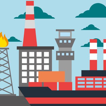 oil industry refinery production tanker ship vector illustration Ilustração