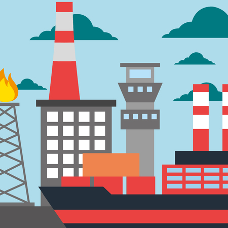 oil industry refinery production tanker ship vector illustration Illustration