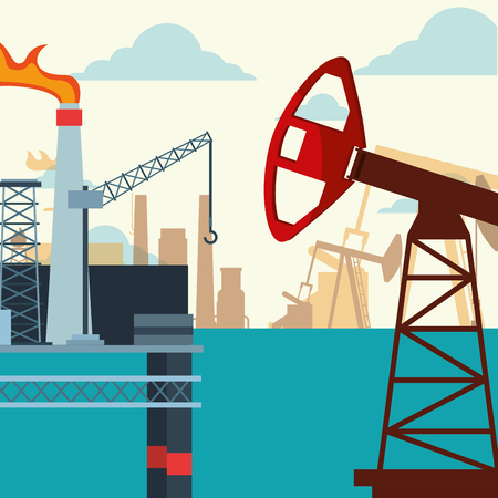oil industry pump jack platform production in the sea vector illustration