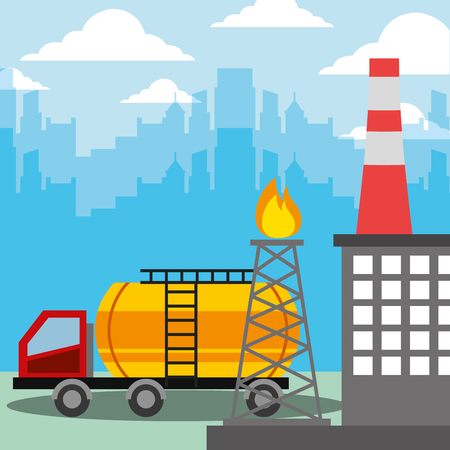 oil industry tanker truck and burning refinery tower vector illustration Illustration