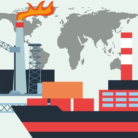 oil industry tanker ship containers and factory world vector illustration