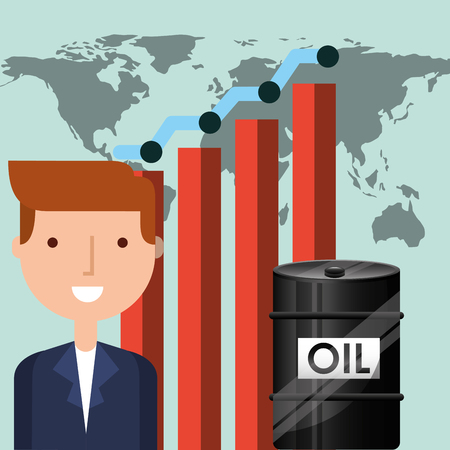businessman trade barrel world oil industry vector illustration Illusztráció