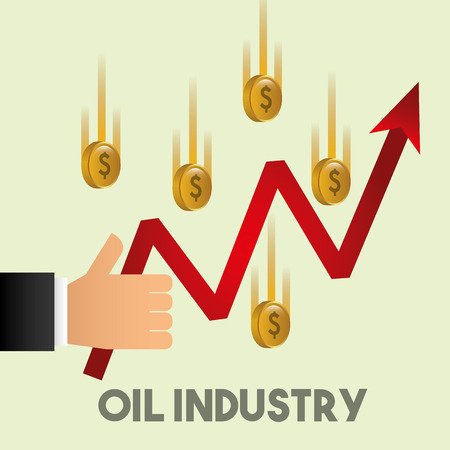 hand like growth arrow financial coins oil industry vector illustration