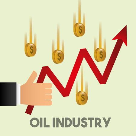 hand like growth arrow financial coins oil industry vector illustration