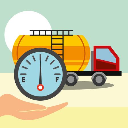 transport truck fuel gas oil industry vector illustration Imagens - 114808585