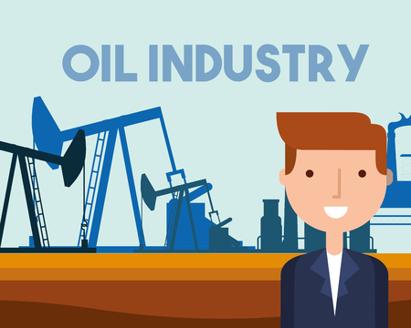 businessman pump jack working refinery plant oil industry vector illustration Illustration