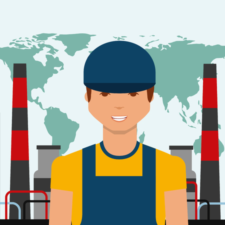 worker portrait chemical plant world oil industry vector illustration Illustration