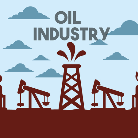 chemical plant or factory pump jack field oil industry vector illustration