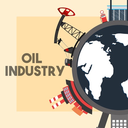 world pump jack refinery plant ship tanker oil industry vector illustration Foto de archivo - 105282997