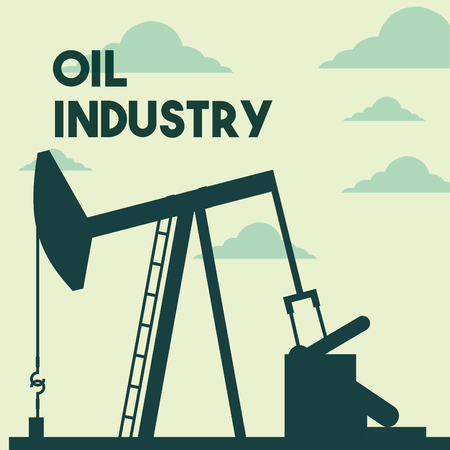 silhouette pump jack production oil industry vector illustration
