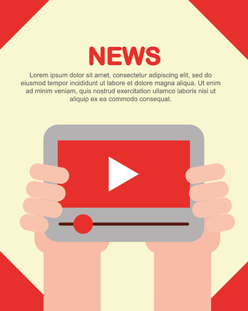 news communication sign hands holding technology play videos vector illustration