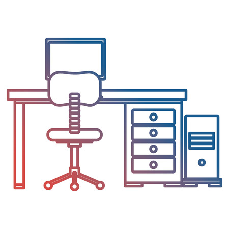 office workplace with desk and desktop scene vector illustration design