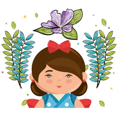 little japanese girl kawaii with flowers character vector illustration design