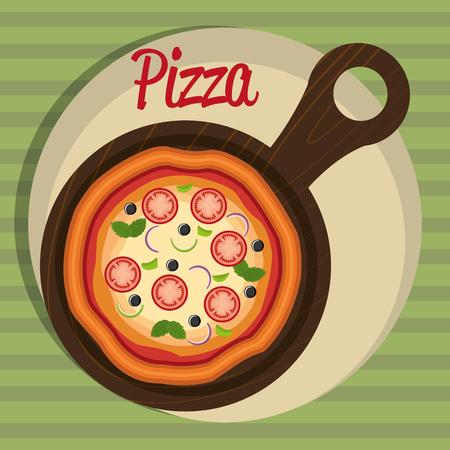 delicious italian pizza in wooden tray vector illustration design