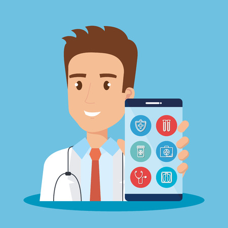 smartphone with doctor and telemedicine icons vector illustration design