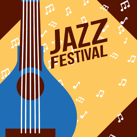 jazz festival instruments blue banjo frame music figures vector illustration