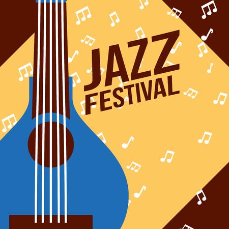 jazz festival instruments blue banjo frame music figures vector illustration