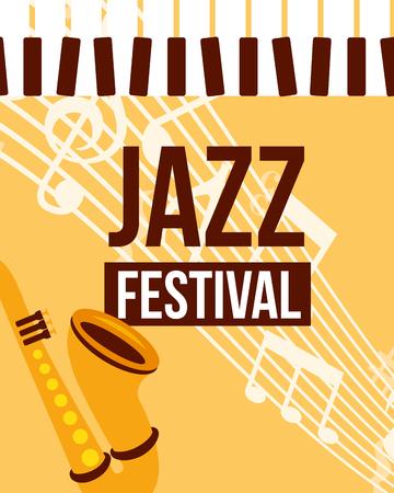 jazz festival instruments piano keys saxophone music notes sign vector illustration