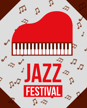 jazz festival instruments red piano sign figures music notes vector illustration Illustration