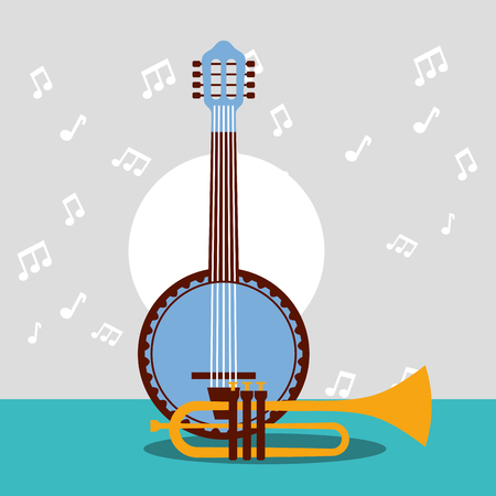jazz festival instruments blue banjo trumpet play song music background vector illustration
