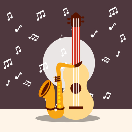 jazz festival instruments music notes background guitar saxophone vector illustration