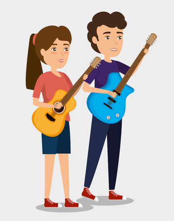 musician couple in concert vector illustration design Stock Vector - 114727855