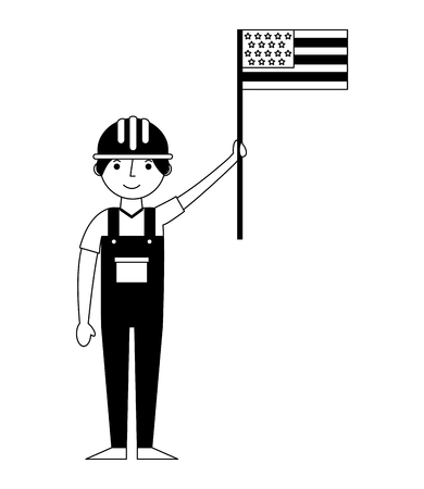 construction builder with usa flag avatar character vector illustration design Stock Photo