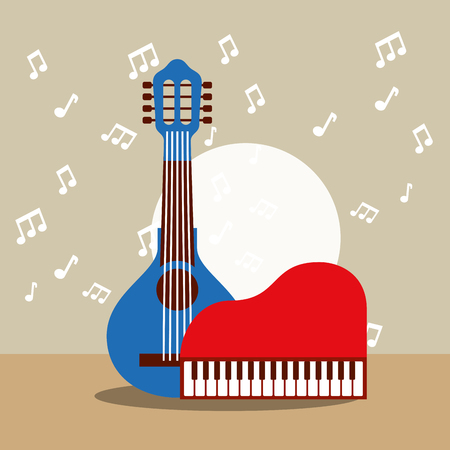 jazz festival instruments banjo with red piano music figures circle background vector illustration Stock Illustration - 105264453