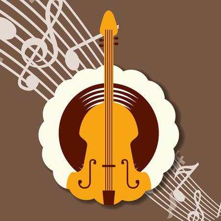 jazz festival instruments music notes label cello vector illustration