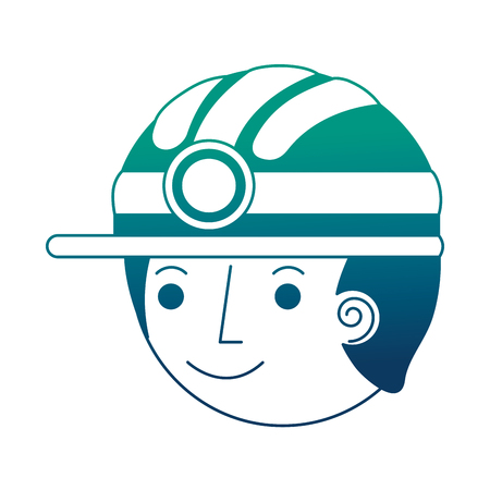 man miner in helmet face character vector illustration gradient design Banco de Imagens
