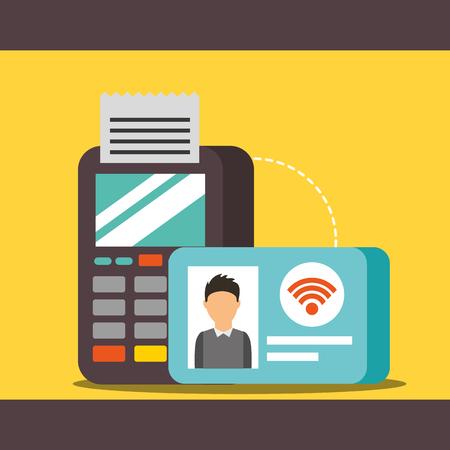nfc payment technology credit card dataphone vector illustration Banco de Imagens