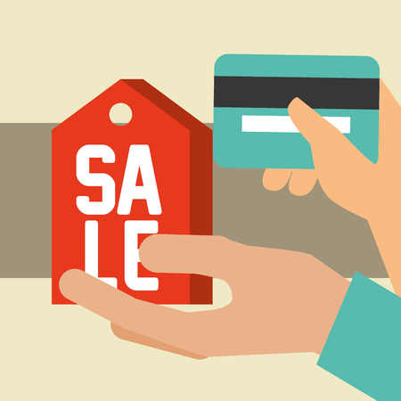 nfc payment technology hands holding credit card sale sign vector illustration