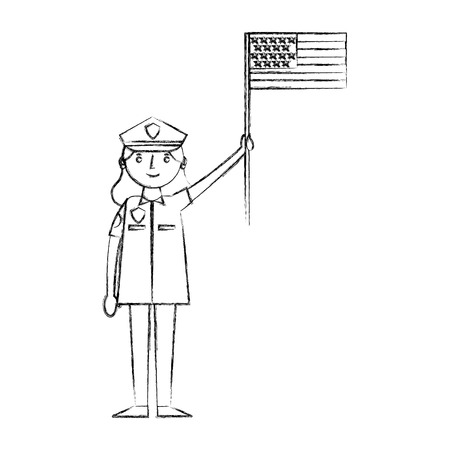 woman police officer holding american flag labor day vector illustration sketch