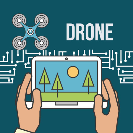 drone technology futuristic hands holding tablet screen wood park vector illustration