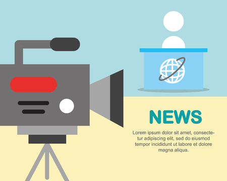 news communication camcorder film person interview world desk vector illustration Stock Illustration - 105316604