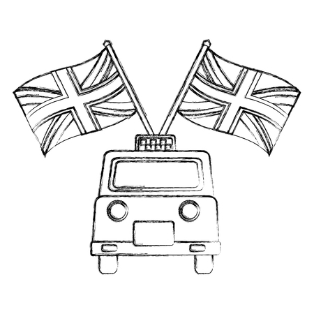 classic taxi with flags of great britain vector illustration design 写真素材 - 105316603