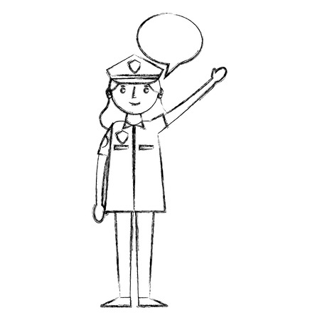 woman officer police with speech bubble vector illustration design