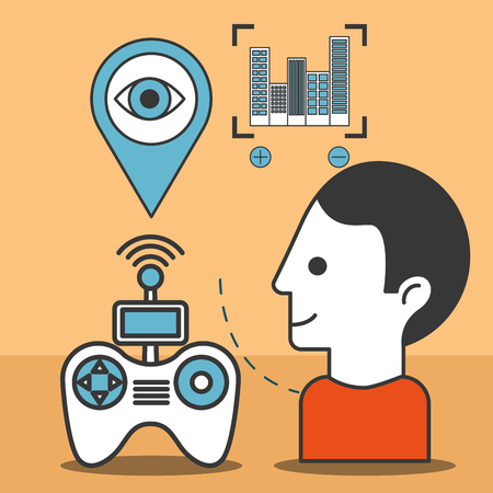 drone technology futuristic man watching control game location focus vector illustration