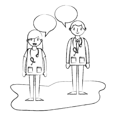 doctor man and woman professional talking vector illustration sketch Stock Photo