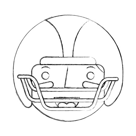 sport man player american football face character vector illustration sketch Stock Photo