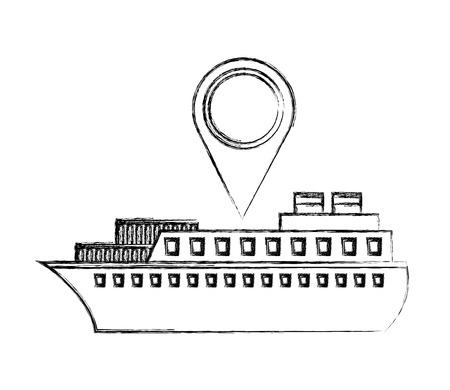 ship boat with pin location vector illustration design