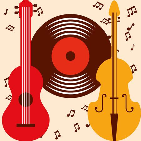jazz festival colors guitar cello disk music vector illustration