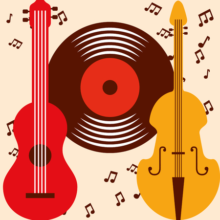 jazz festival colors guitar cello disk music vector illustration