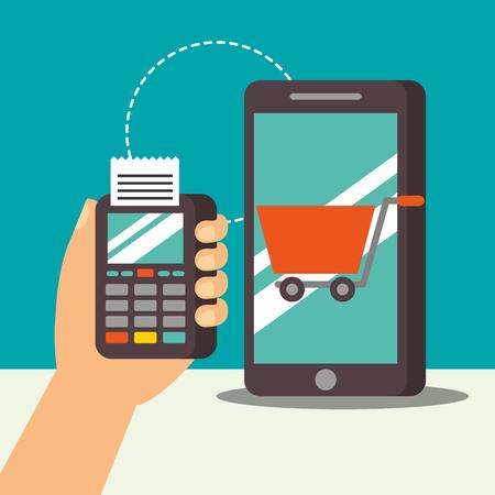 nfc payment technology dataphone smartphone shopping cart vector illustration