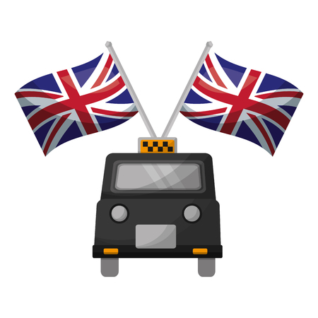 classic taxi with flags of great britain vector illustration design