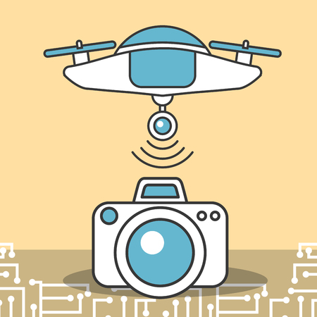 drone technology transfer data camera information Stock Photo