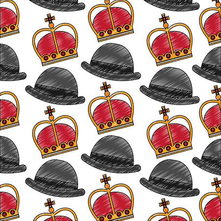 crown of king with gentleman hat pattern vector illustration design Ilustração