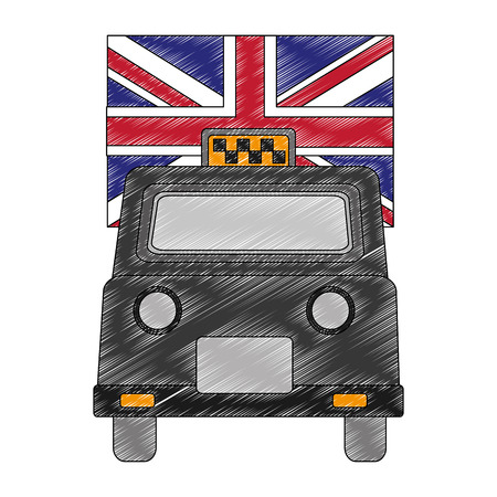 london taxi with flag isolated icon vector illustration design