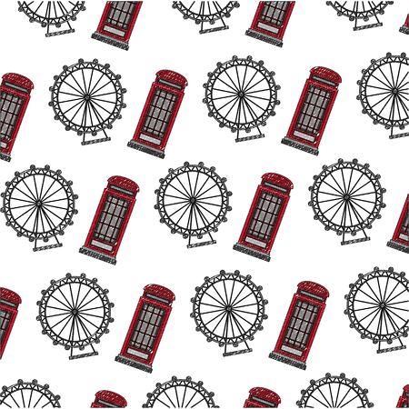 classic british telephone booth with panoramic wheel pattern vector illustration design Иллюстрация